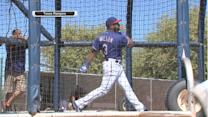 Seattle Seahawks quarterback Russell Wilson makes appearance at Texas Rangers spring training