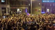 Uncut: Celebrations in street following Boston Marathon suspect arrest