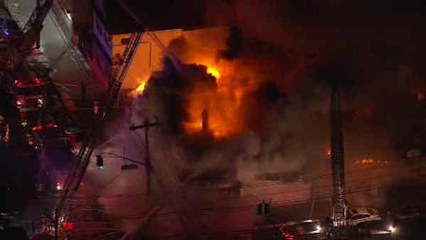 Fire tears through buildings in Elizabeth