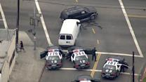 LAPD cars, civilian vehicles smashed up in stolen van pursuit
