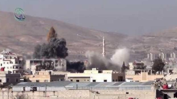 Helicopter Drops Bombs on Daraya