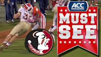 FSU TE Nick O'Leary Trucks Clemson Defender | ACC Must See Moment of the Year Candidate