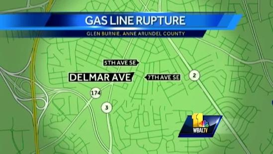 Homes evacuated after Glen Burnie gas main break
