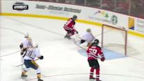 Travis Zajac scores from Jaromir Jagr