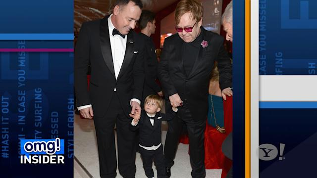 Elton John Dresses 2-Year-Old Son in Tuxedo