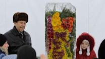 Raw: Floral Bouquets in Ukraine Encased in Ice
