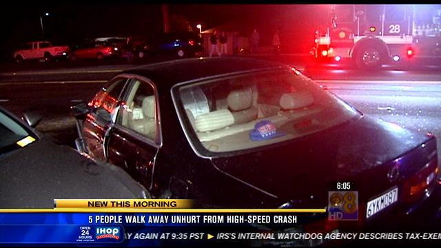 Five people walk away from high-speed crash
