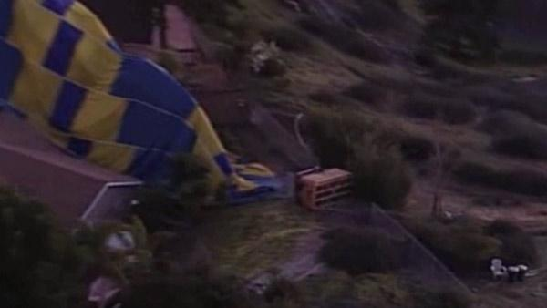 Hot air baloon crashes in CA backyard