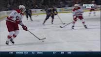 Eric Staal finds the five-hole on Ryan Miller