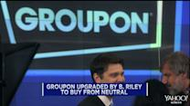 Groupon jumps on upgrade; PetSmart shares continue to rise; United to outsource jobs