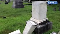Video: Over 70 headstones damaged during cemetery vandalism