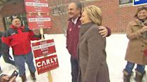 Hillary Clinton runs into Carly Fiorina's Husband at New Hampshire Polling Place