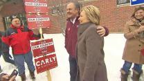 Hillary Clinton runs into Carly Fiorina's Husband at New Hampshire Polling Place