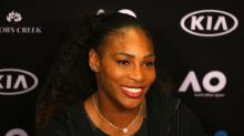 Here's Serena Williams casually playing tennis with a couple of strangers — while wearing boots