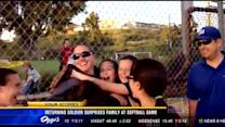 Returning soldier surprises family at softball game