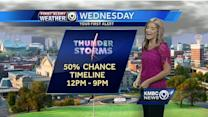 Storms could bring brief, heavy downpours Wednesday