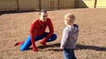 Dad dresses as Spider-Man to surprise son