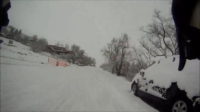 Timelapse of snow covered commute