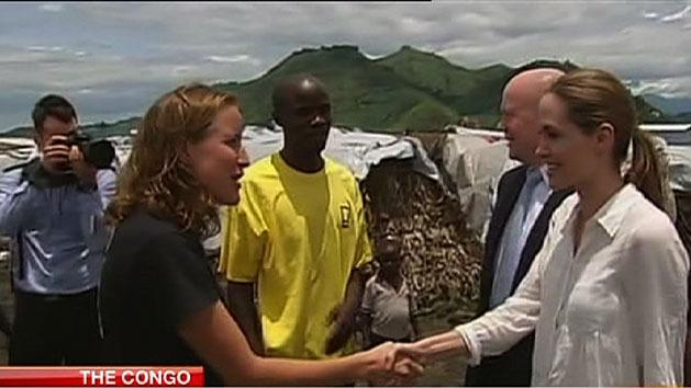 Jolie raising awareness in Congo