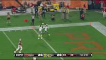 Arizona Cardinals defensive back Antonio Cromartie and Patrick Peterson drop interception