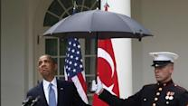 Raw: Marines Come to Obama's Aid in the Rain