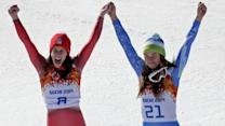 Women's Downhill Ends in Double Gold