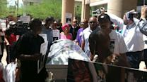 Casket marched through downtown Phoenix in protest