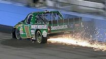 Tire problem sends Hornaday hard into the wall