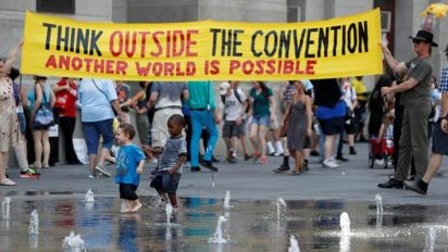 Protesters hit the streets for hot day of marches before DNC