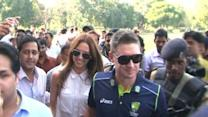 Michael Clarke visits Taj Mahal with wife