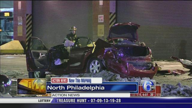 Car plows into parked cars in North Philadelphia