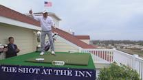 Kohki Idoki tees off from top of the Inn at Harbor Shores
