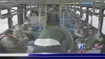 Brawl between bus driver and teen caught on camera