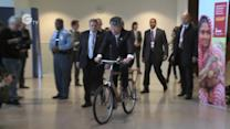 UN chief Ban Ki-moon on a bamboo bike!