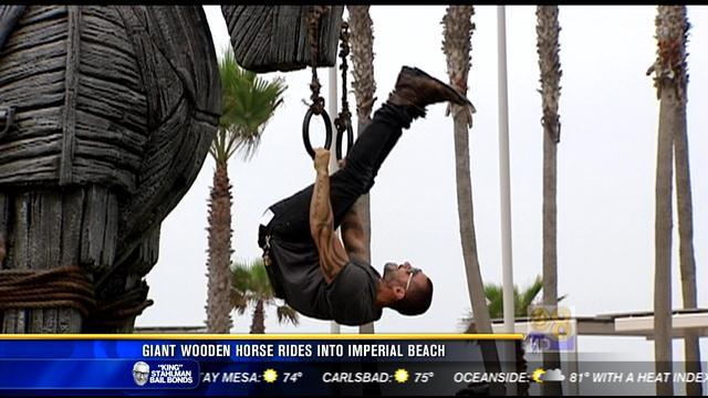 Giant wooden horse rides into Imperial Beach