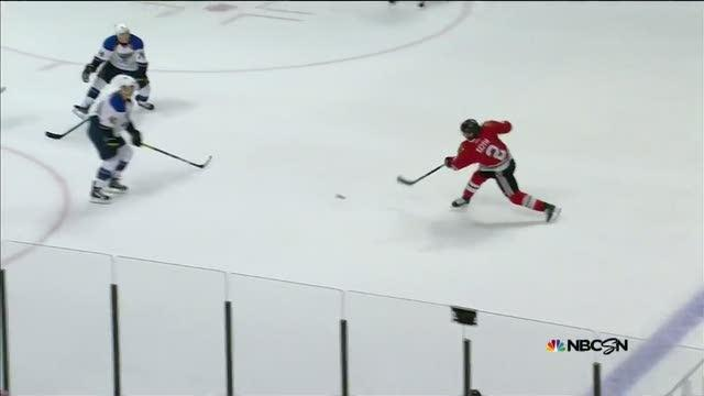 Keith blasts a one-timer past Miller