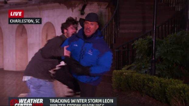 Weather Channel's Jim Cantore Knees Videobomber in Groin