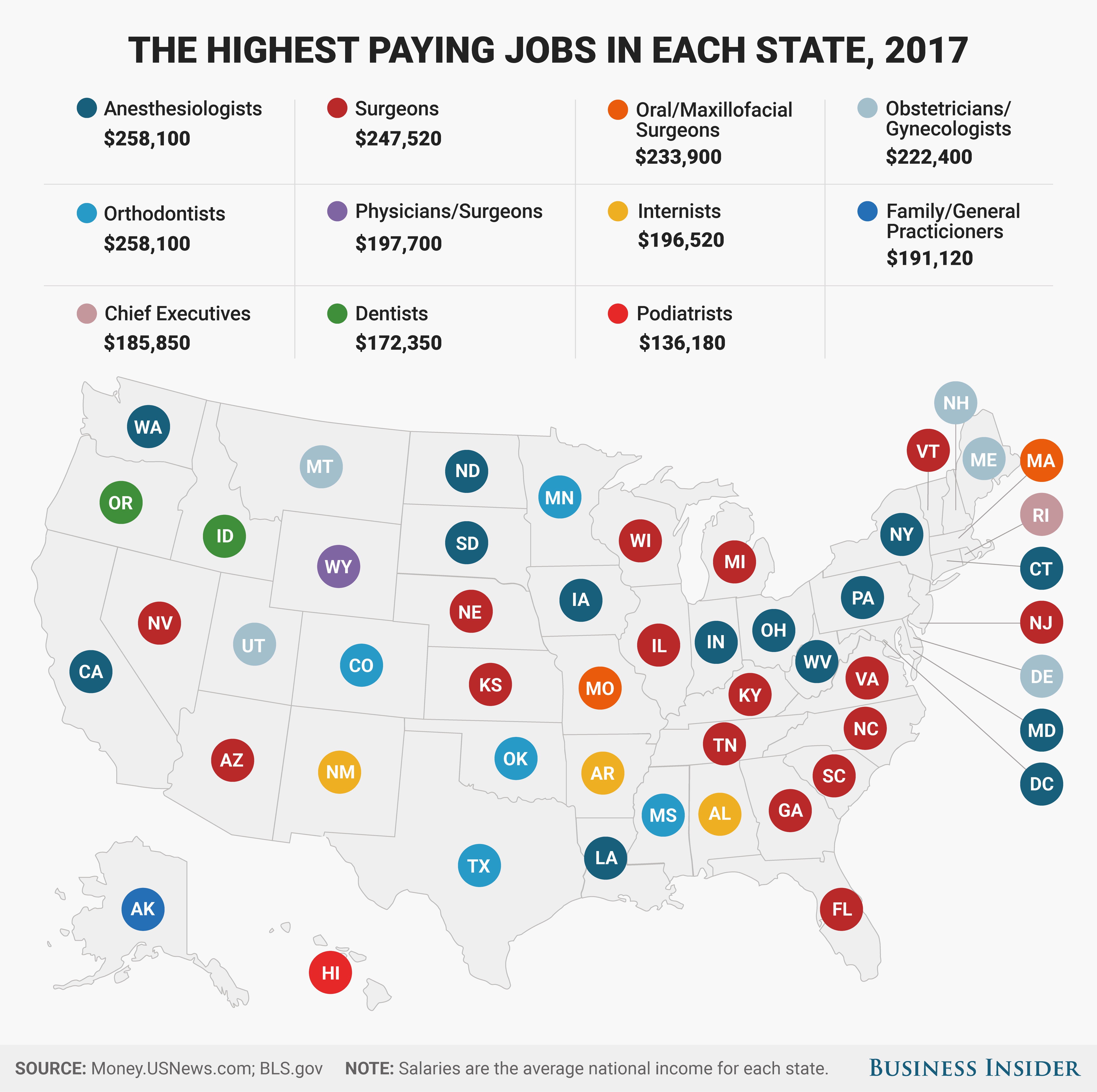 the best high paying job in every state in 2017