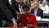 German politician hit by chocolate pie