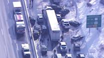 Cars Crushed, Scattered in Massive Highway Pileup